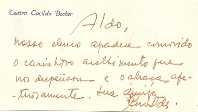 Cacilda Becker dedicatoria